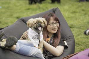 Dog and owner on beanbag