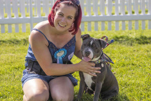 Woman and staffy