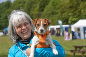 woman and jack russell