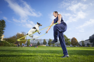 Rachael Grylls skipping with her Jack Russell Jessica